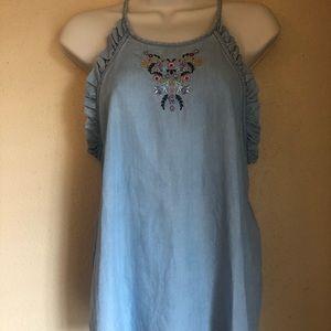 Blue Rain Tops - Embroidered ruffle tank
